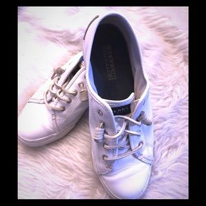 Sperry Seacoast White Leather EUC 8.5